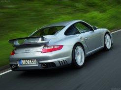 2008 Silver Porsche 911 GT2 Wallpaper Rear angle side view