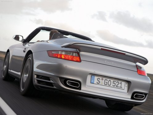 2008 Silver Porsche 911 Turbo Cabriolet Wallpaper Rear angle view