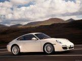 2009 White Porsche 911 Carrera Wallpaper Side angle view