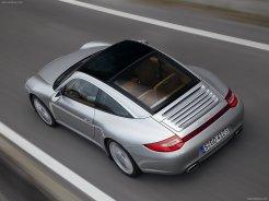 2009 Silver Porsche 911 Targa 4 Wallpaper Rear angle top view