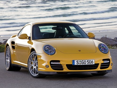 2010 Yellow Porsche 911 Turbo Wallpaper Front angle view