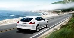 2011 White Porsche Panamera Diesel wallpaper Rear angle view