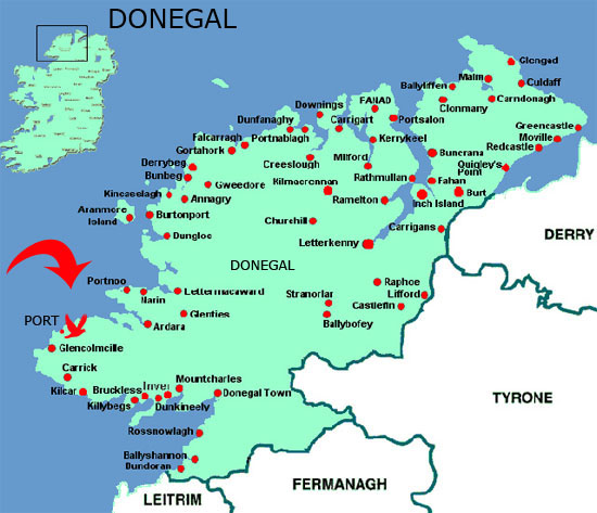 Image result for donegal ireland map