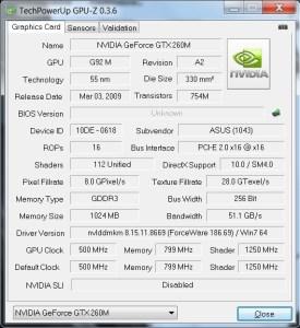 GPU-Z de GeForce GTX 260M sur Asus G51J