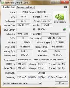 GPU-Z GeForce GTX 260M de l'Alienware Area-51 M15x