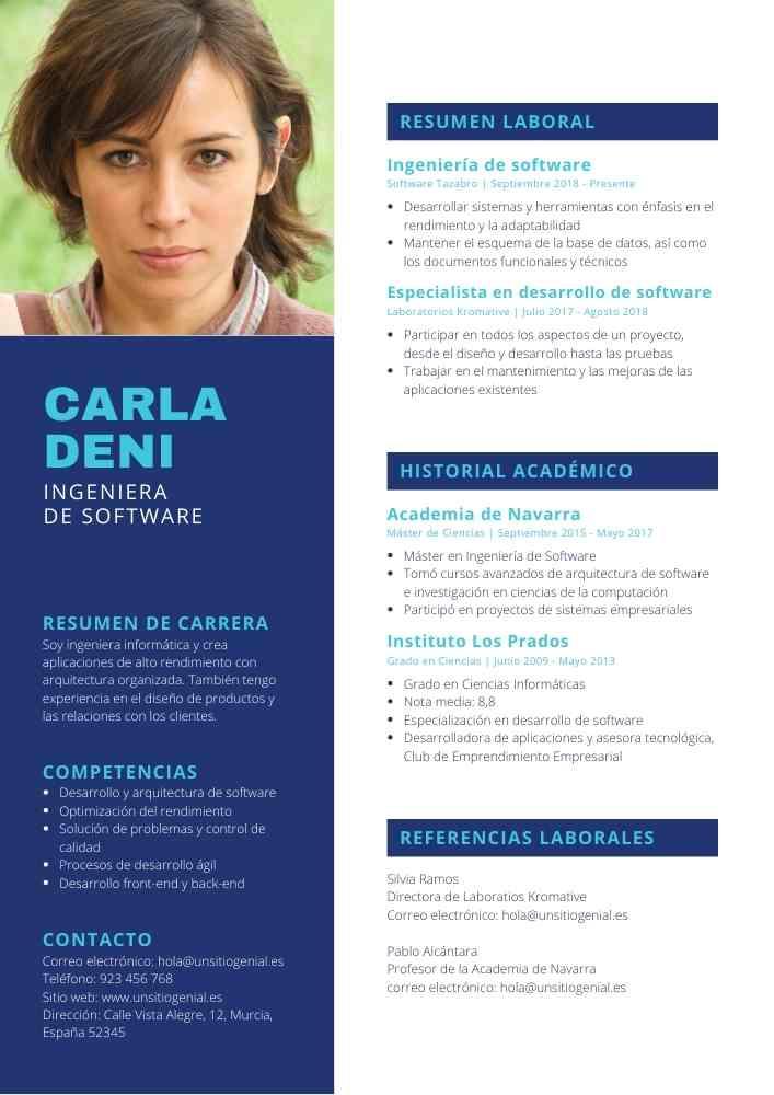 Azul Blanco Moderno Foto Ingenieria Curriculum