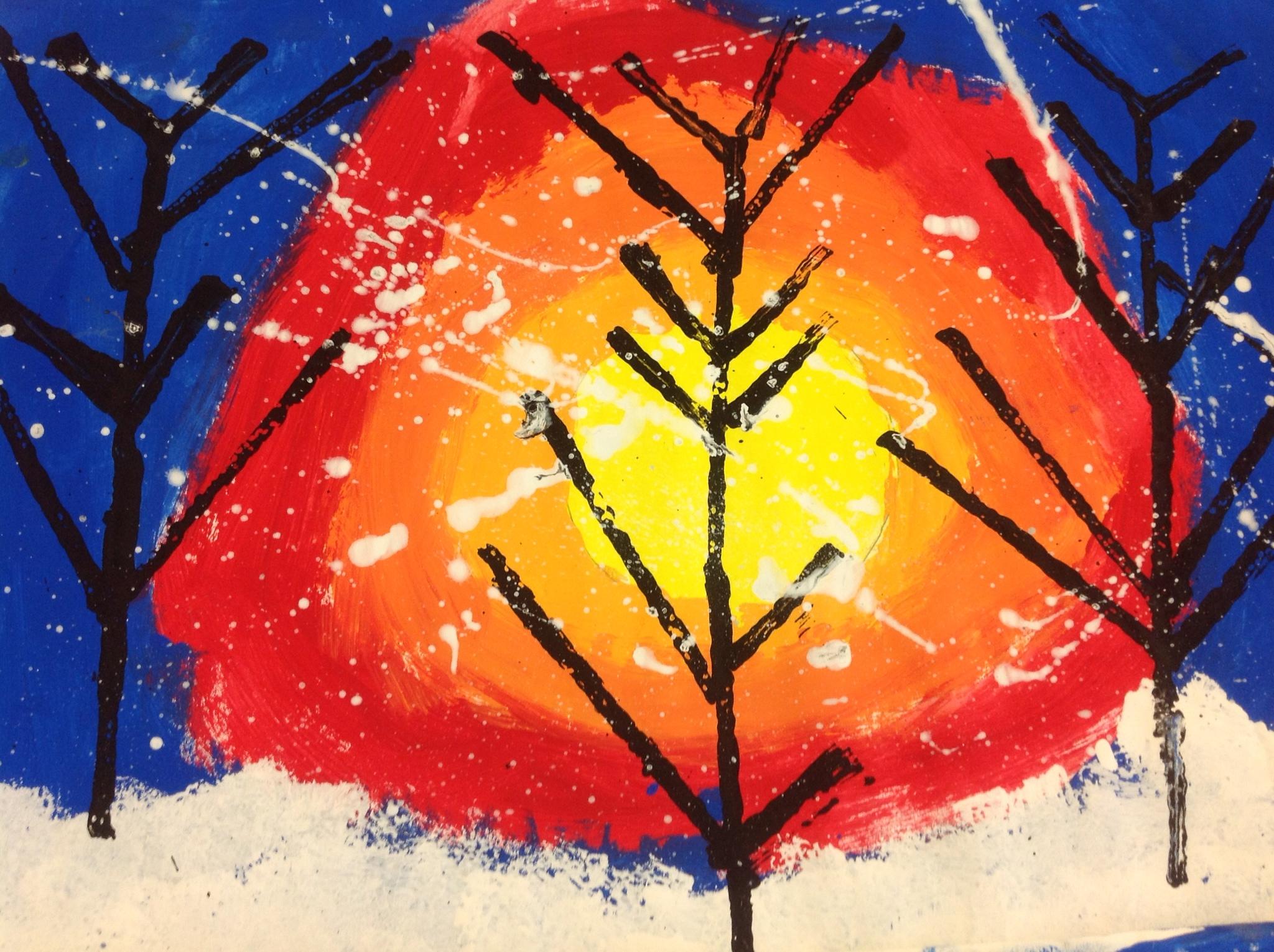 Kindergarten Winter Landscape Paintings Mrs Yang S Art Room