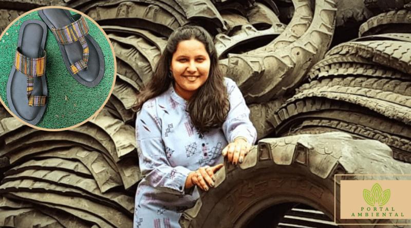, Joven India convierte neumáticos desechados en Calzado Ecológico