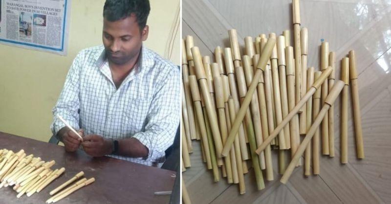 Hombre fabrica bolígrafos ecológicos con hojas de maíz