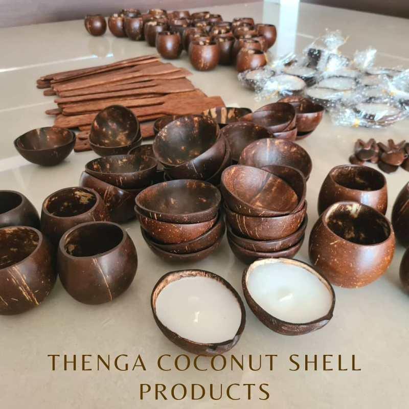 , Joven recicla cáscaras de coco desechadas en vajilla ecológica de alta calidad