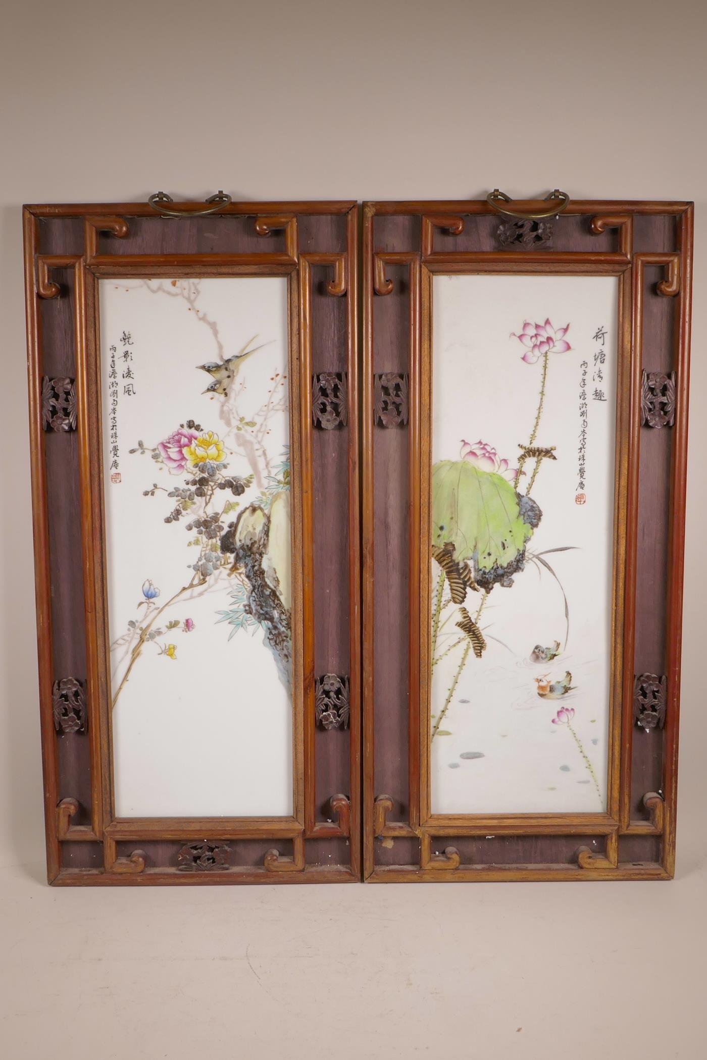 Lot 94 - A pair of Chinese polychrome porcelain panels decorated with birds amongst flowers, and waterfowl on