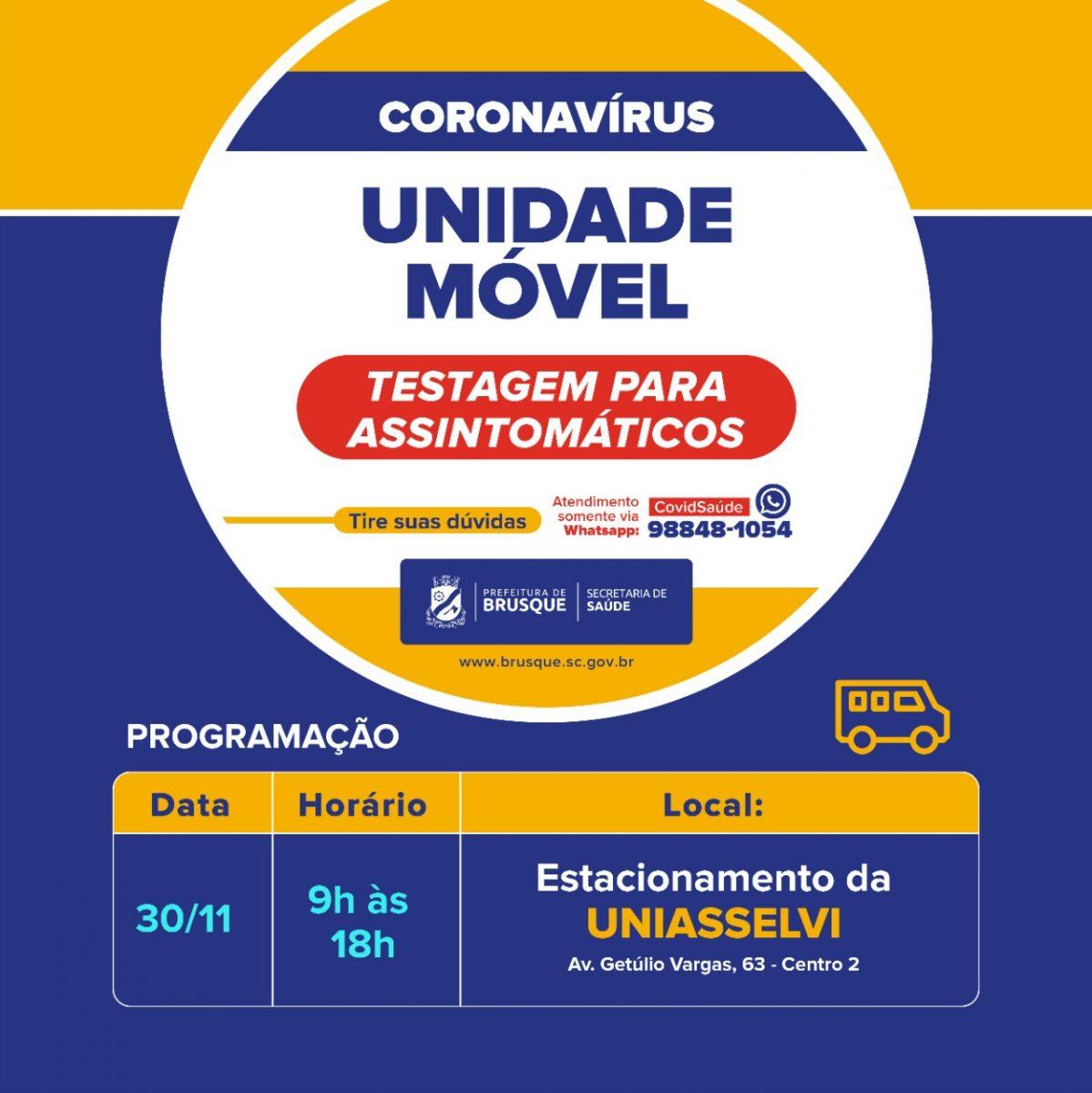 Covid-19: Unidade Móvel estará no estacionamento da Uniasselvi na segunda-feira (30)