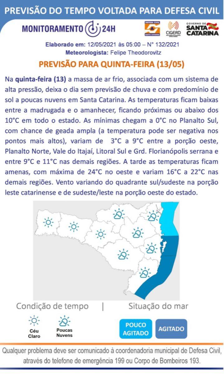 Defesa Civil alerta para queda de temperatura nas próximas horas