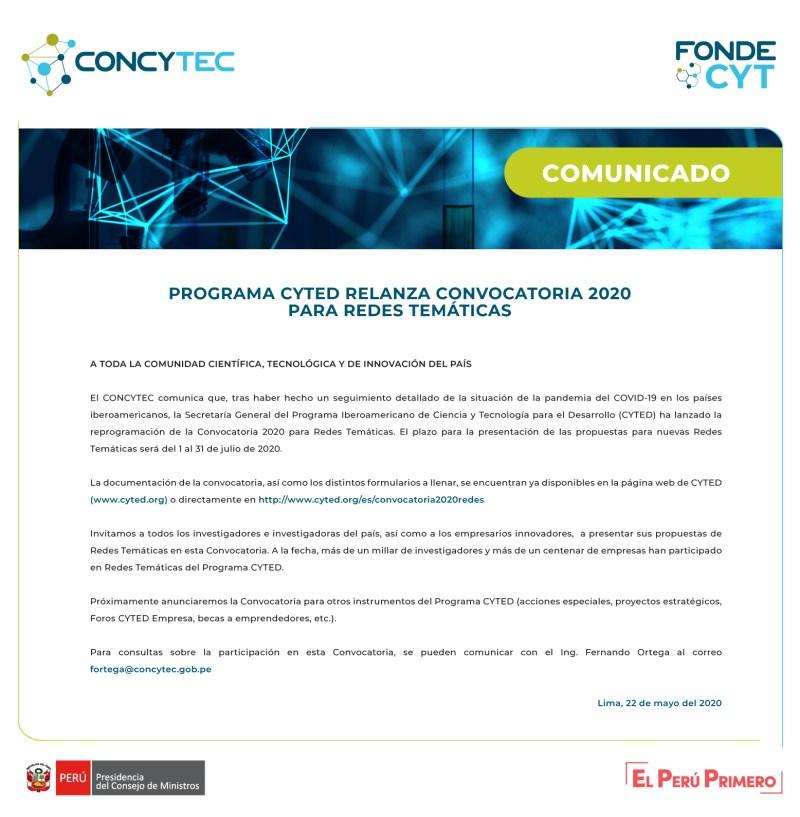 Comunicado redes CYTED