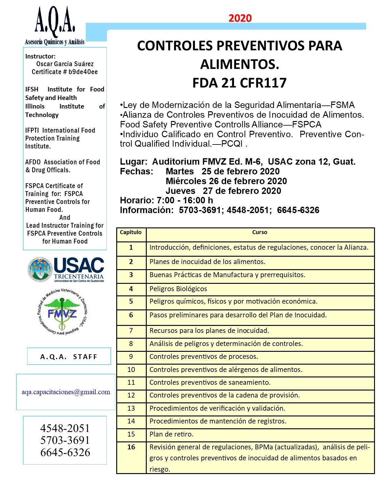 CURSO Ley de Modernidad Alimentaria  CONTROLES PREVENTIVOS PARA ALIMENTOS. FDA 21 CFR117