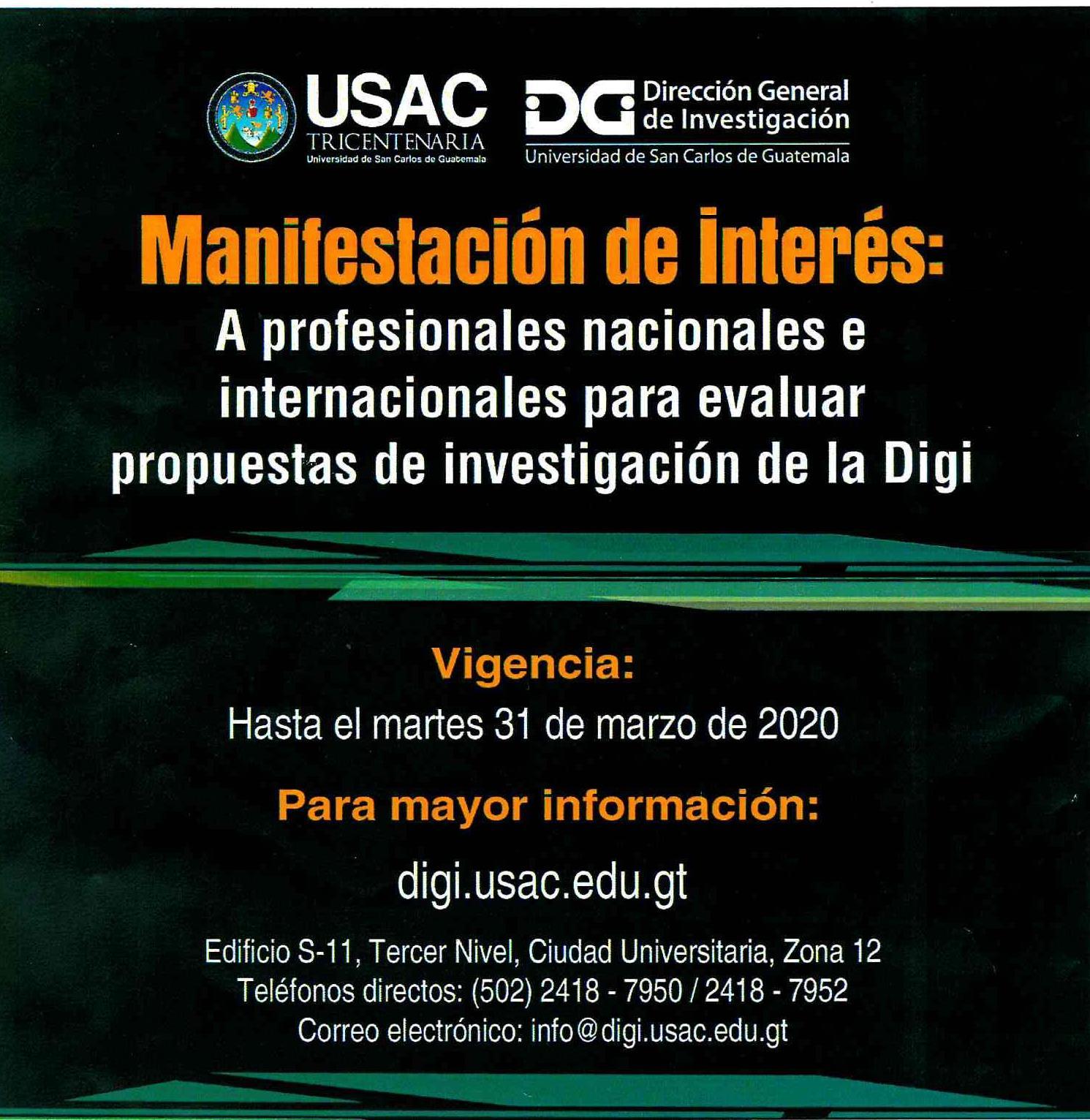 Manifestación de Interés para Investigación de la Digi