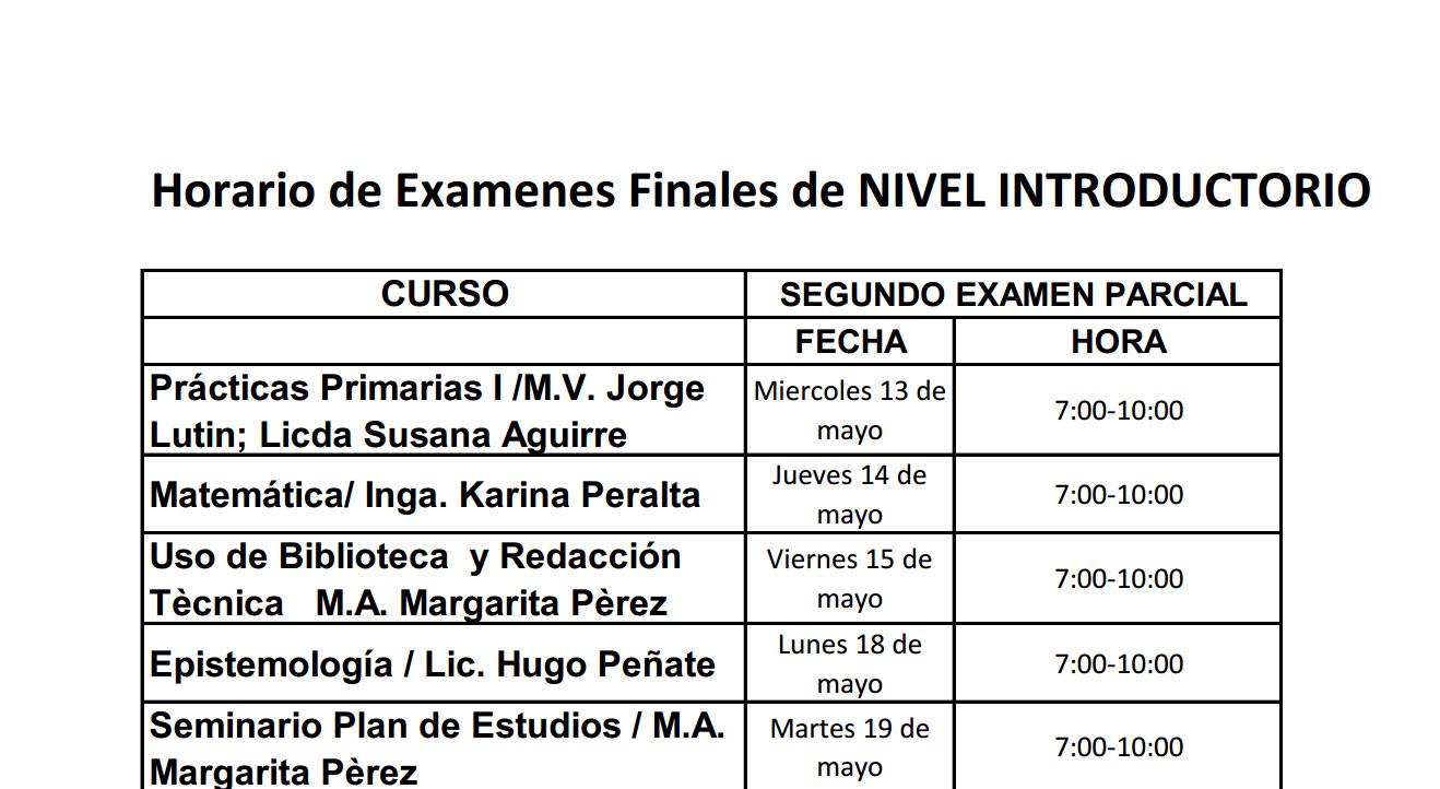 Calendario de Exámenes Finales Primer Semestre 2020