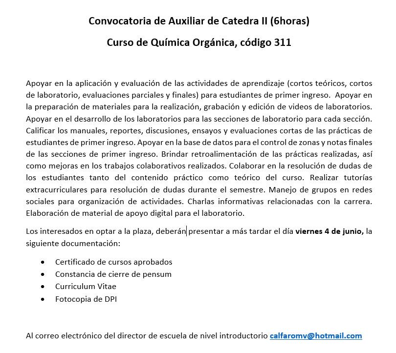 Convocatoria para Auxiliar de Catedra II para Nivel Introductorio