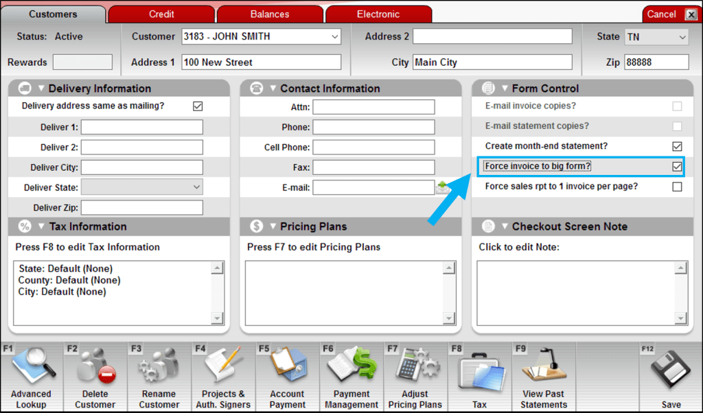 Force invoice to big form checkbox option