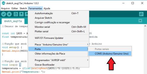 Selecionando porta de comunicação na IDE Arduino