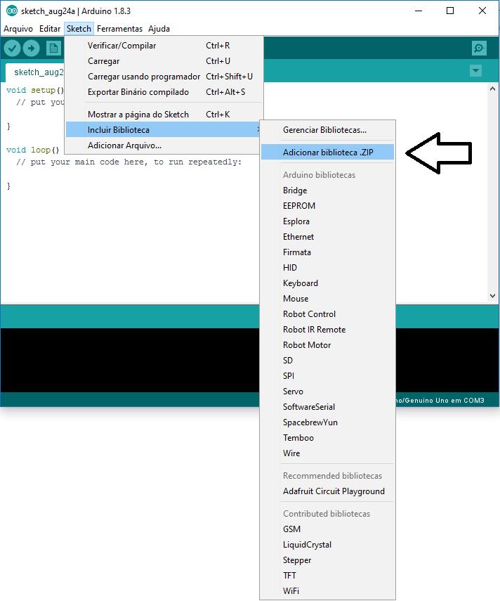 Imagem explicando como adicionar uma biblioteca IDE Arduino