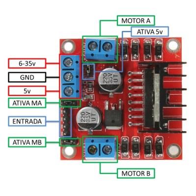 Módulo Ponte H com o CI L298N - drive motor