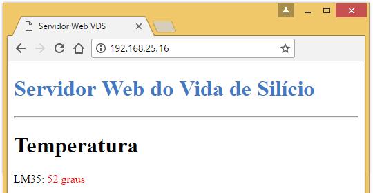 imprimindo valores de temperatura do servidor web no navegador