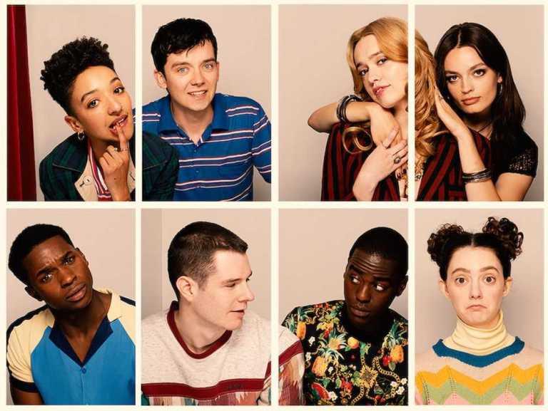 Elenco (de cima para baixo, da esquerda à direita), Ola, Otis, Aimee, Maeve, Jackson, Adam, Eric e Lily