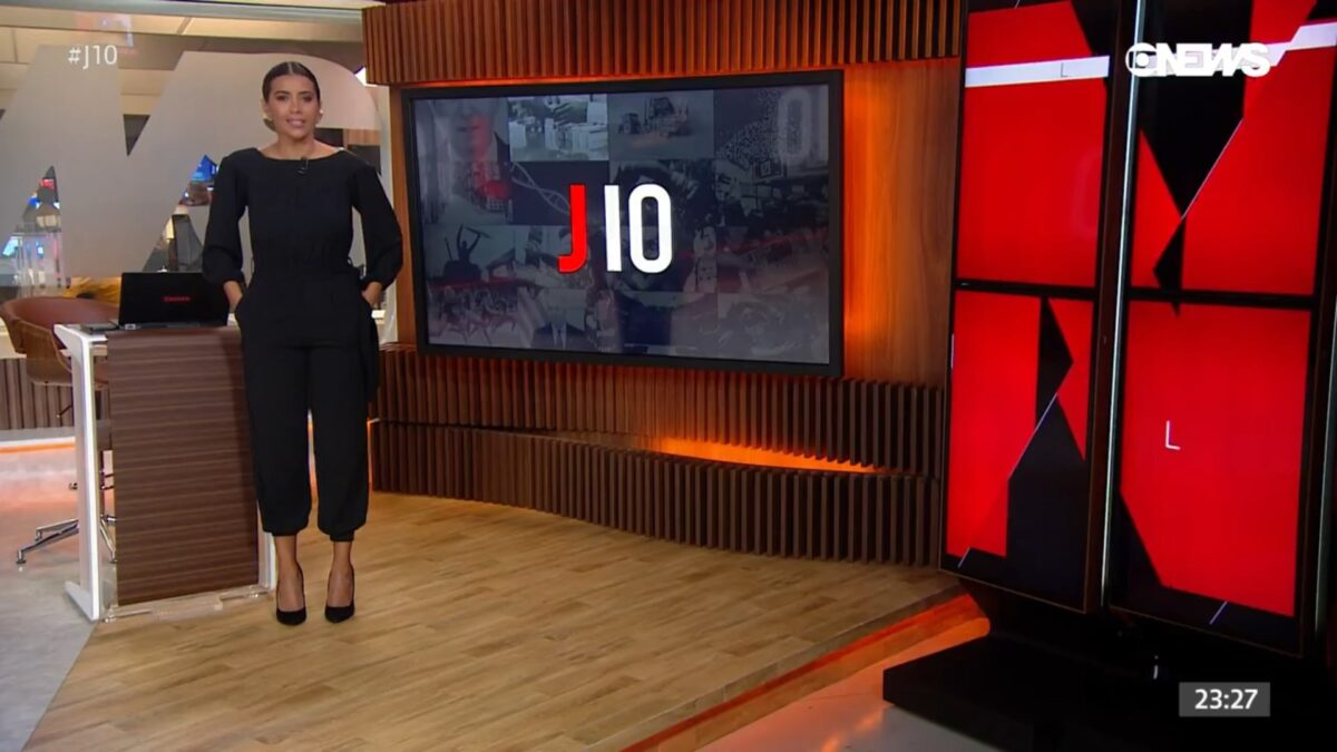 Aline Midlej na estreia do novo Jornal das Dez da Globo News