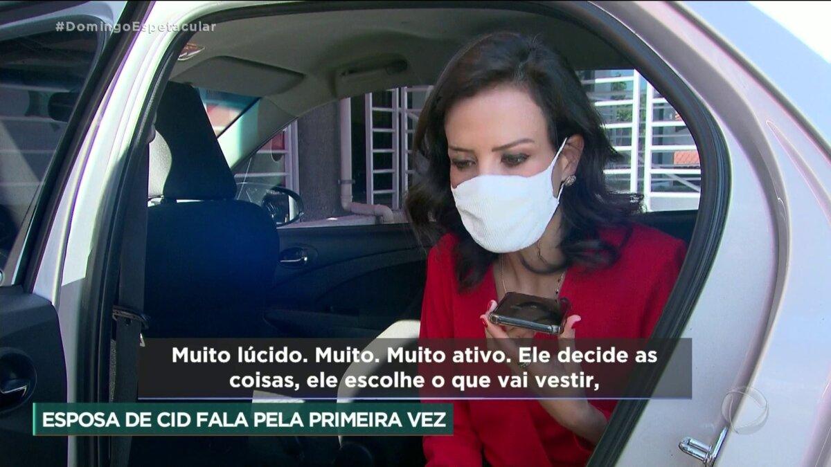 Fátima Sampaio, mulher de Cid Moreira, em entrevista a repórter Fabiana Oliveira do Domingo Espetacular