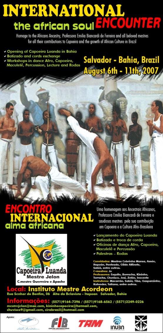 Portal Capoeira Bahia: XI Encontro Internacional Capoeira Luanda - ALMA AFRICANA Eventos - Agenda