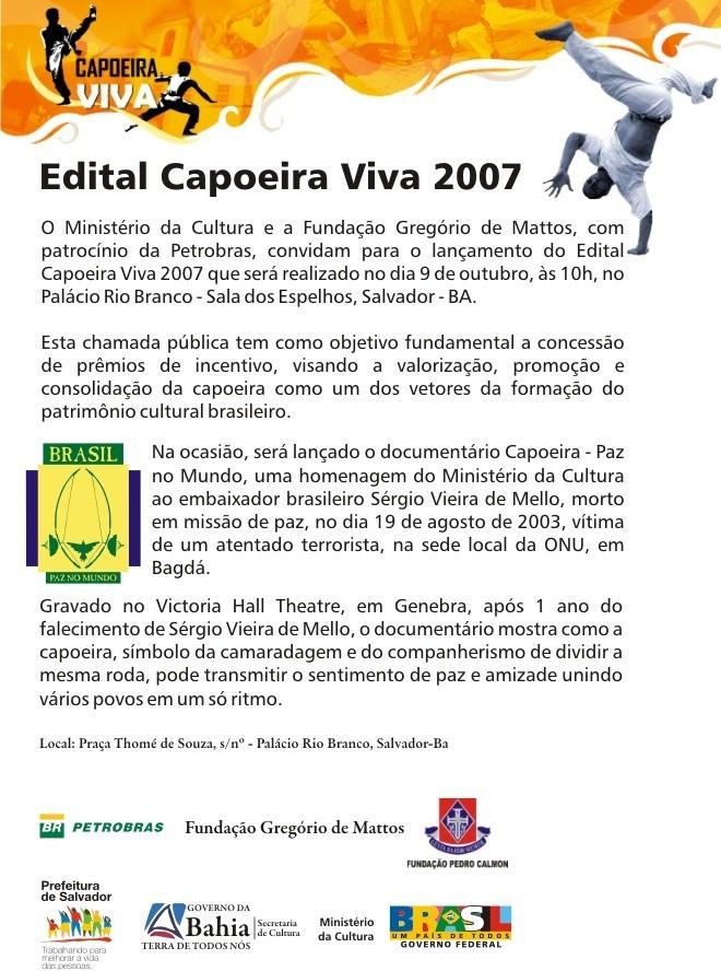 Portal Capoeira Edital Capoeira Viva 2007 Notícias - Atualidades