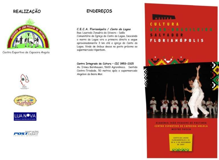 """Portal Capoeira Mostra """"Cultura Afrô-brasileira Salvador - Florianópolis"""" Eventos - Agenda"""