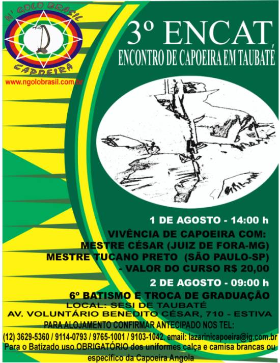 Portal Capoeira 3º ENCAT - Encontro de Capoeira em Taubaté Eventos - Agenda