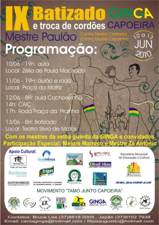 Portal Capoeira MG: Ginga Itaúna 2010 Eventos - Agenda