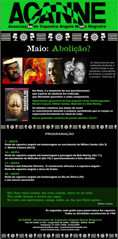 Portal Capoeira ACANNE: Programação de Maio Eventos - Agenda