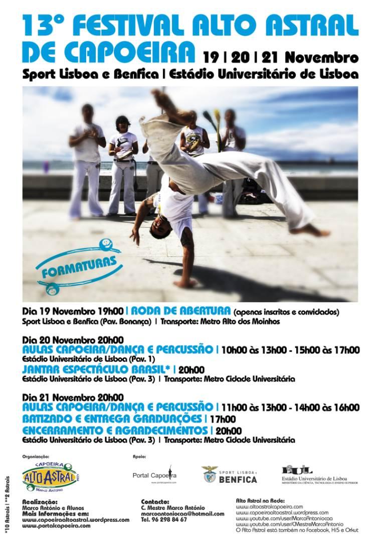 Portal Capoeira Lisboa: 13º Festival de Capoeira - Alto Astral Capoeira Eventos - Agenda