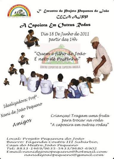 """Portal Capoeira Projeto Pequenos do João """"capoeira em outras rodas"""" Eventos - Agenda"""