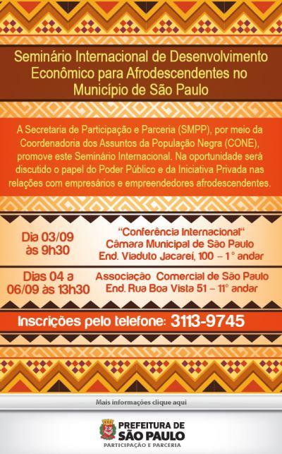 Portal Capoeira SP: Seminário Internacional de Desenvolvimento Econômico para Afrodecendentes Cultura e Cidadania