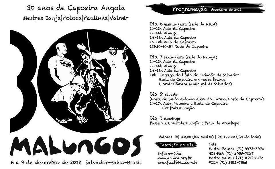 Portal Capoeira NZinga: 30 Anos de Capoeira Angola Eventos - Agenda