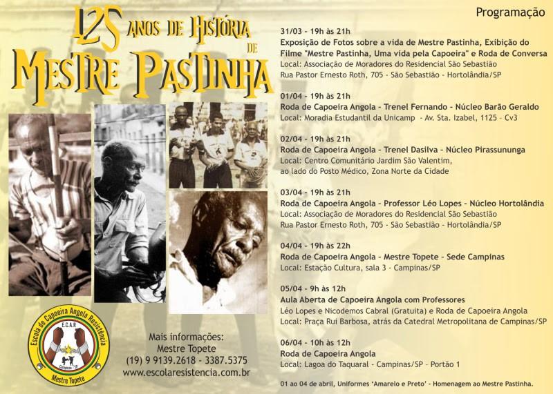 Portal Capoeira Escola de Capoeira Angola Resistência comemora os 125 anos de história do Mestre Pastinha Eventos - Agenda