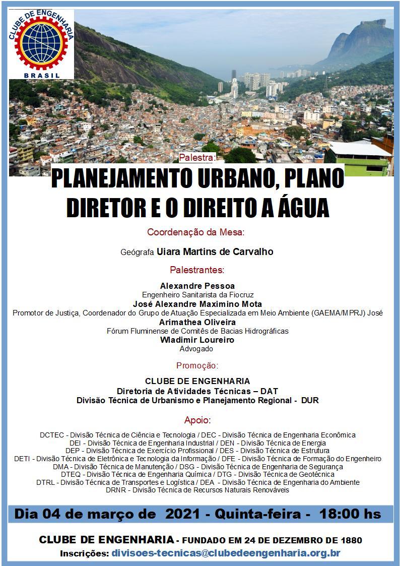 Planejamento Urbano, Plano Diretor e o Direito à Água