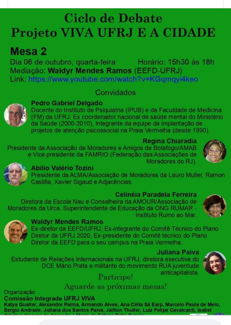 Ciclo de debates Projeto Viva a UFRJ e a cidade