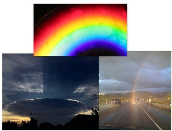 Naves em forma de nuvem e Arco Iris Gigante duplo