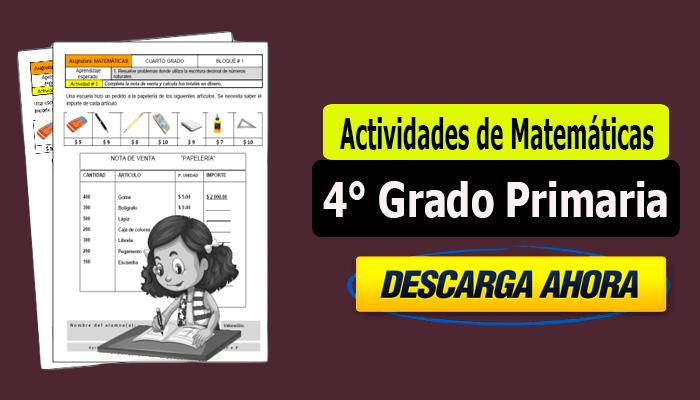Actividades de Matemáticas para 4° Grado Primaria - Portal de Educación