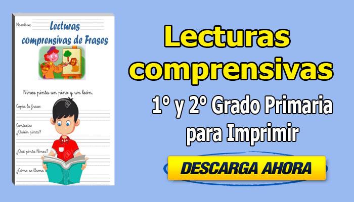 Lecturas comprensivas de frases 1° y 2° grado primaria para imprimir