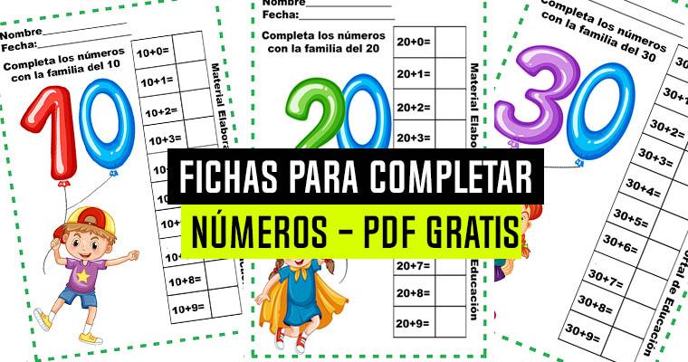 Fichas para Completar los Números – PDF Gratis
