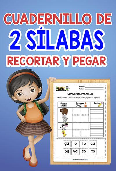 cuadernillo de dos silabas para formar y recortar