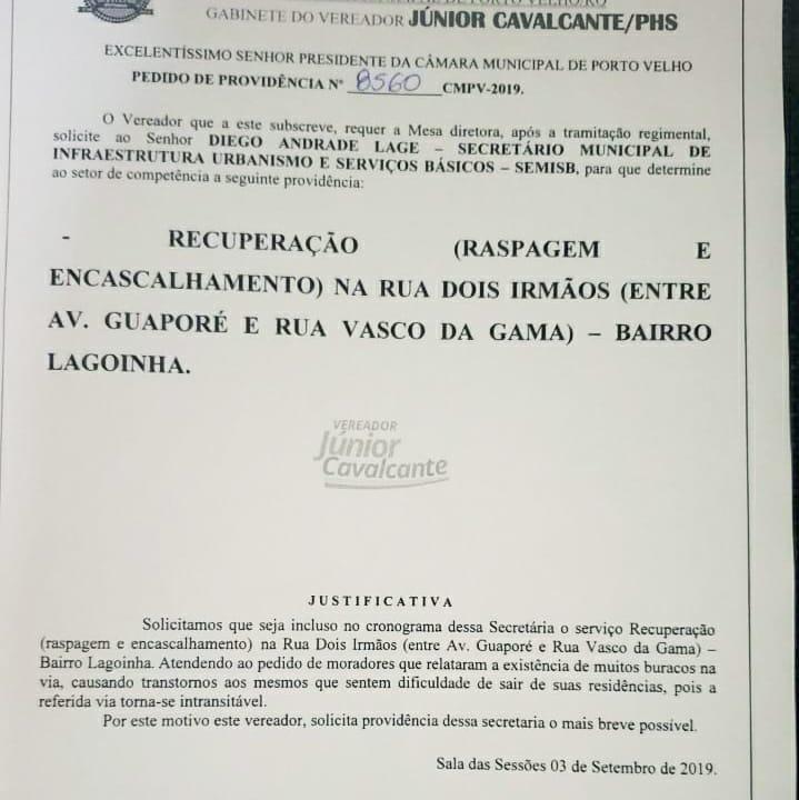 Vereador Júnior Cavalcante solicita e prefeitura inicia recuperação da Rua Dois Irmãos no Lagoinha