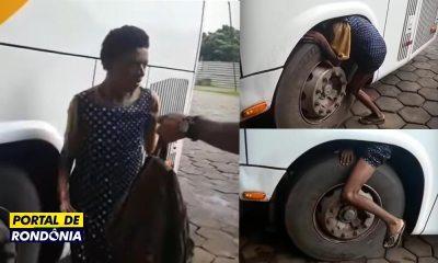Jovem tenta viajar de Porto Velho para Cuiabá no compartimento de roda de ônibus